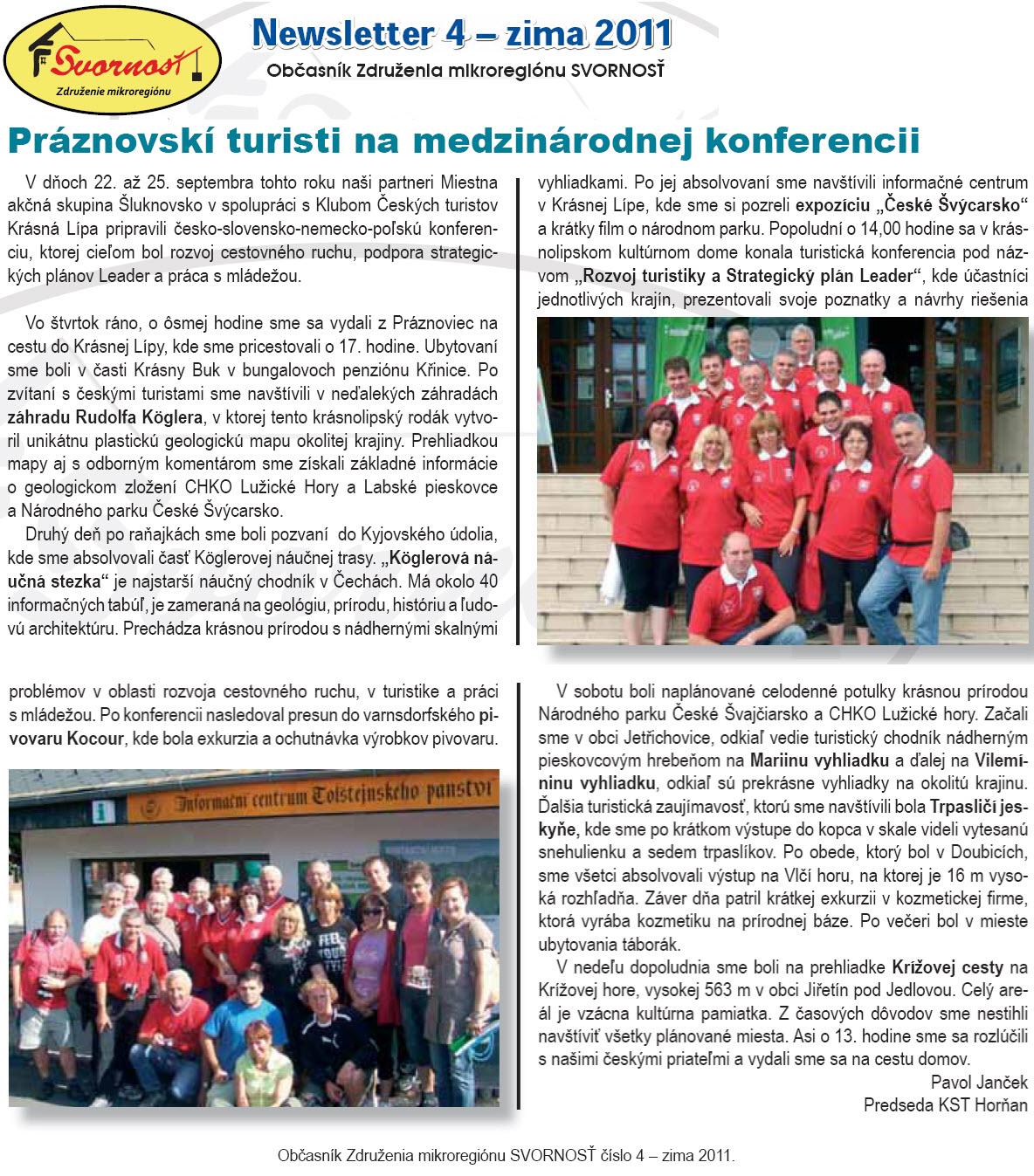 Newsletter č. 4 - zima 2011