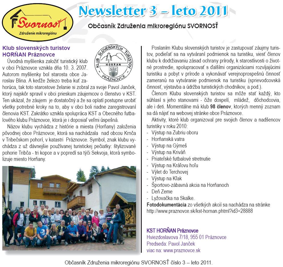 Newsletter č. 3 - leto 2011